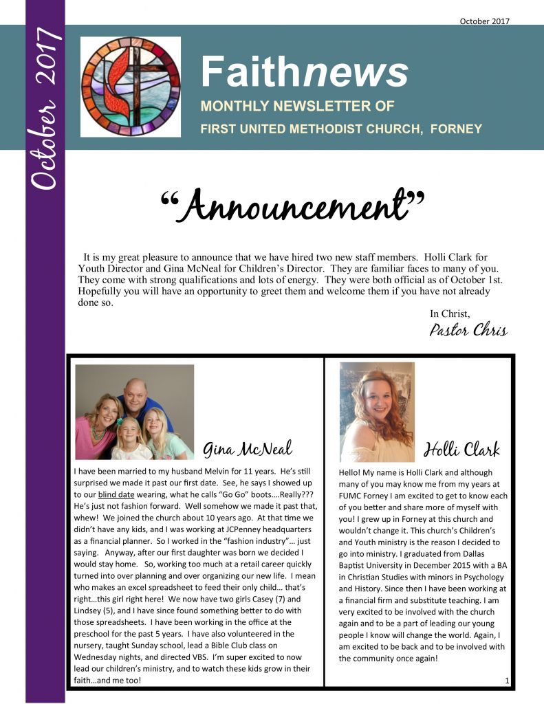 Pastors blog first united methodist church forney announcement it is my great pleasure to announce that we have hired two new staff members holli clark for youth director and gina mcneal for childrens kristyandbryce Gallery