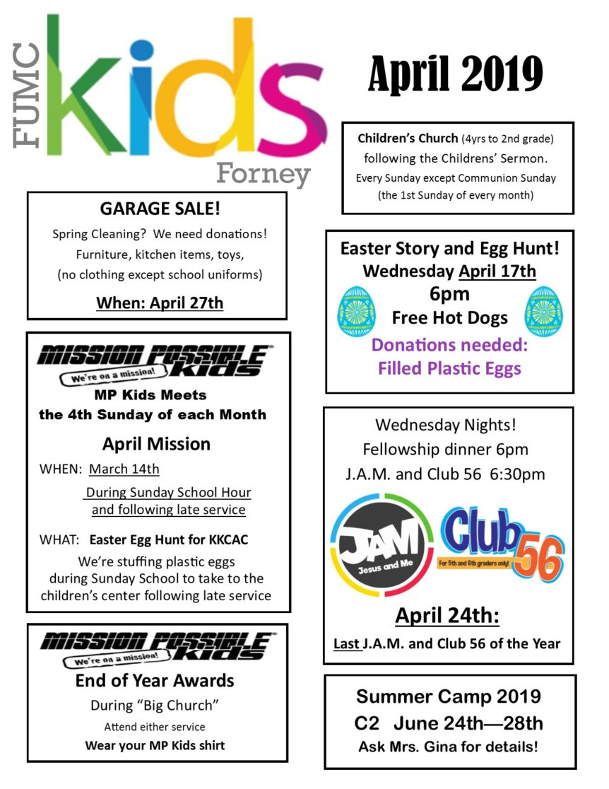 April 2019 Fumc Kids Activities First United Methodist Church Forney